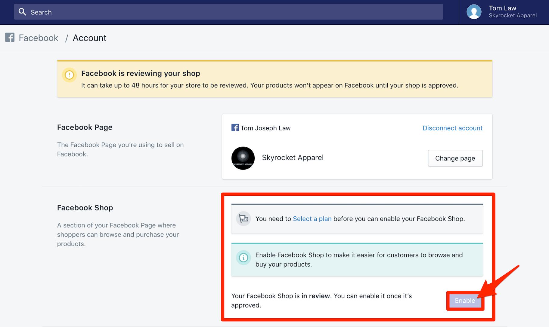 Enable Facebook Shop