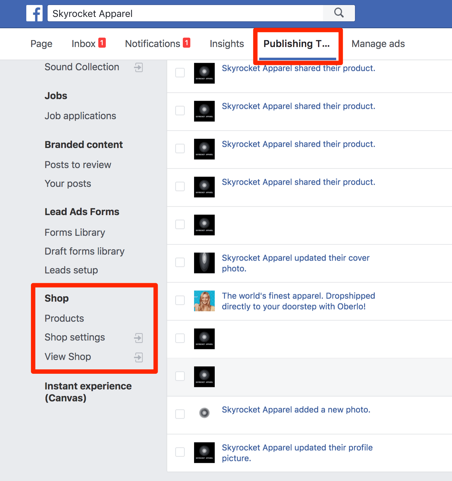Facebook Shop Management