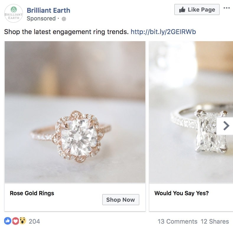 Brilliant Earth - Facebook Ad Examples