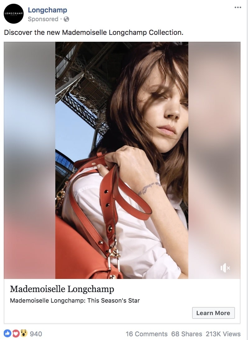 Longchamp - best facebook ads