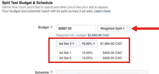 Facebook Weighted Split Test