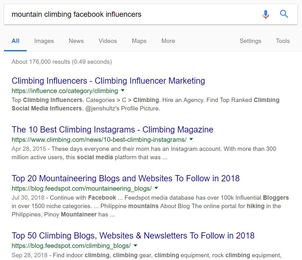 use google to find facebook influencers
