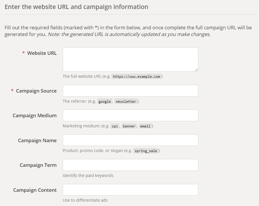 google campaign URL builder