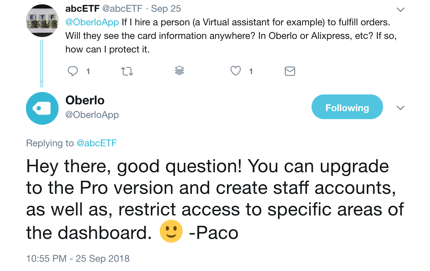 Oberlo Twitter Response