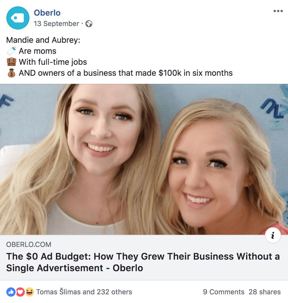 Oberlo Facebook Ad