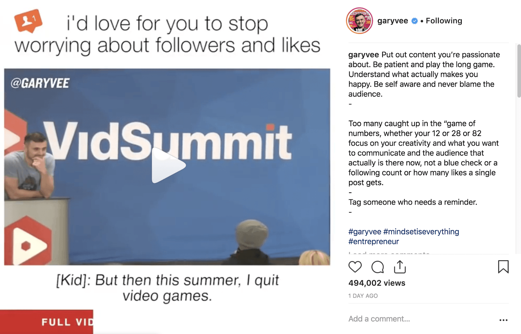 Garyvee Instagram Post