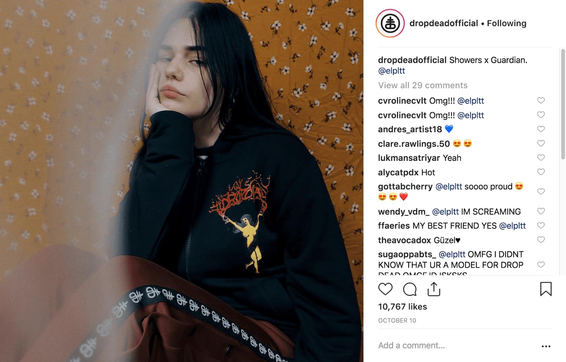 Drop Dead Official Instagram Post