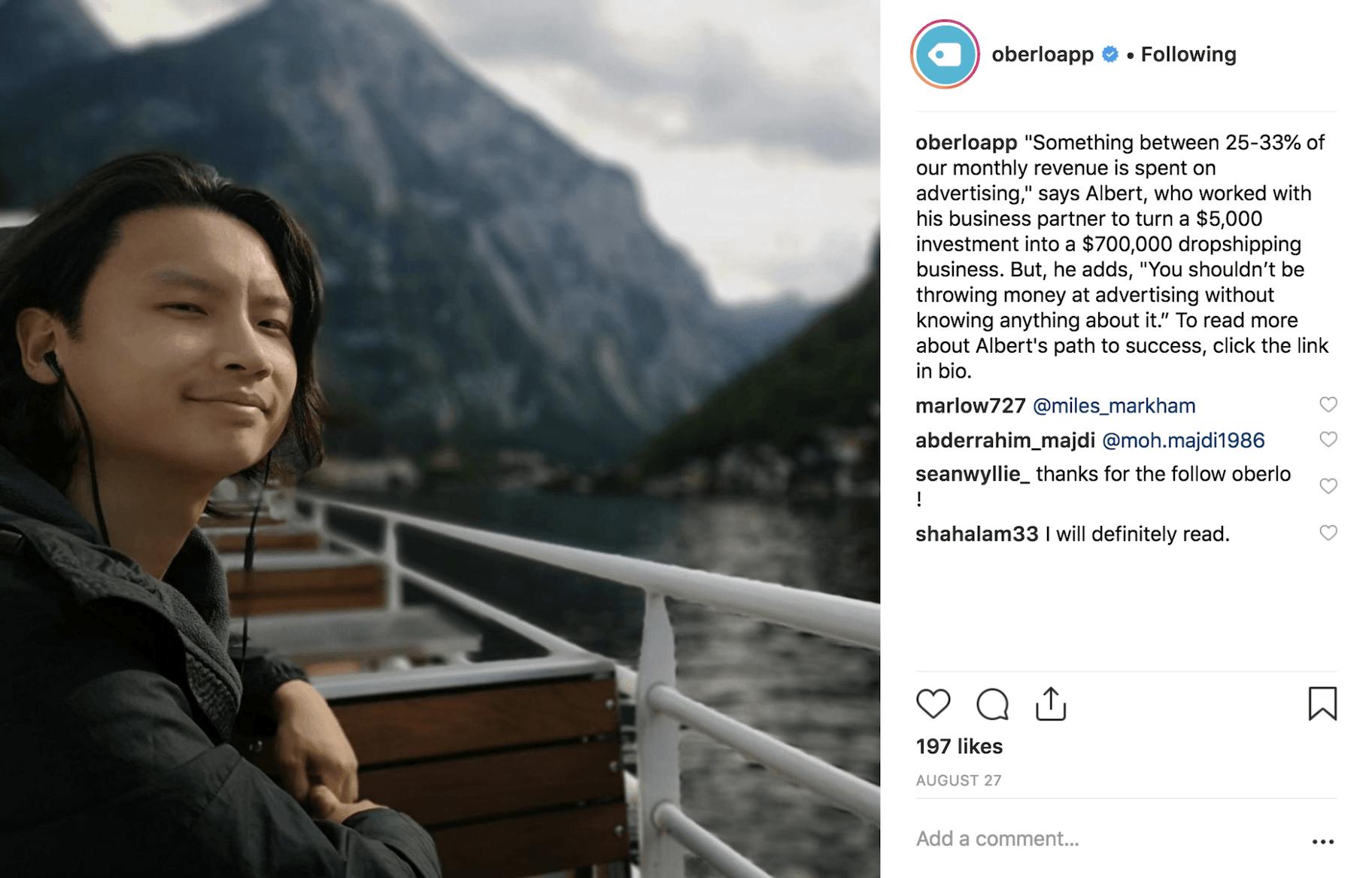 Oberlo Instagram Post