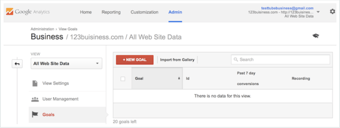 new goal button google analytics