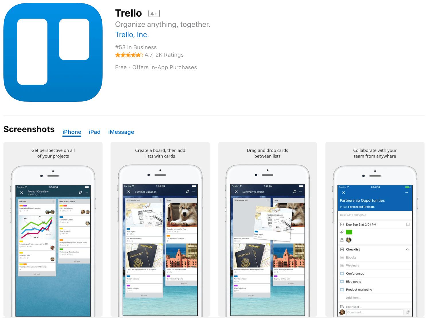 Marketing Apps Trello
