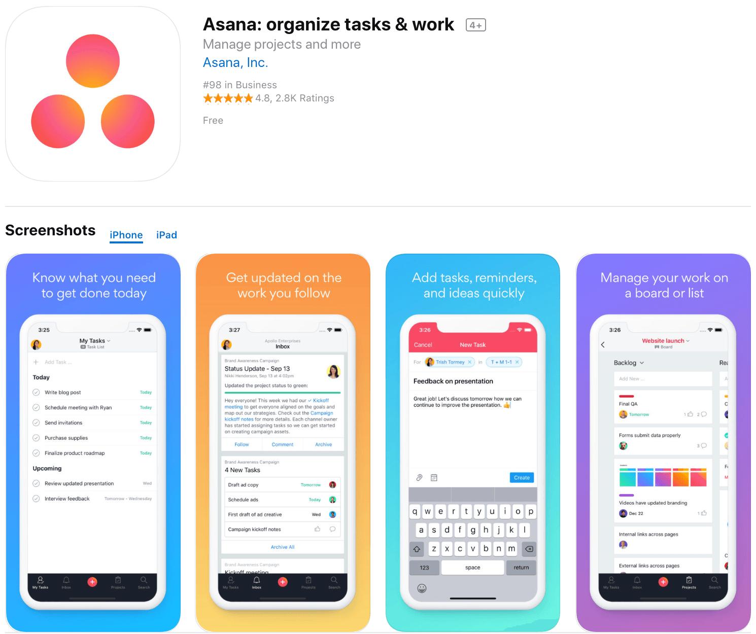 Marketing Apps Asana