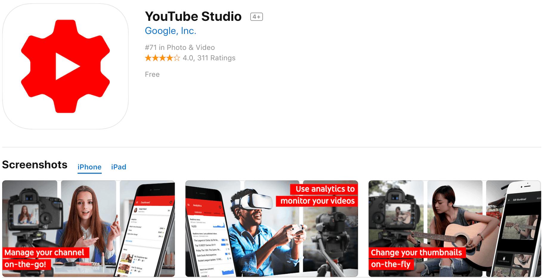 Marketing Apps YouTube Studio