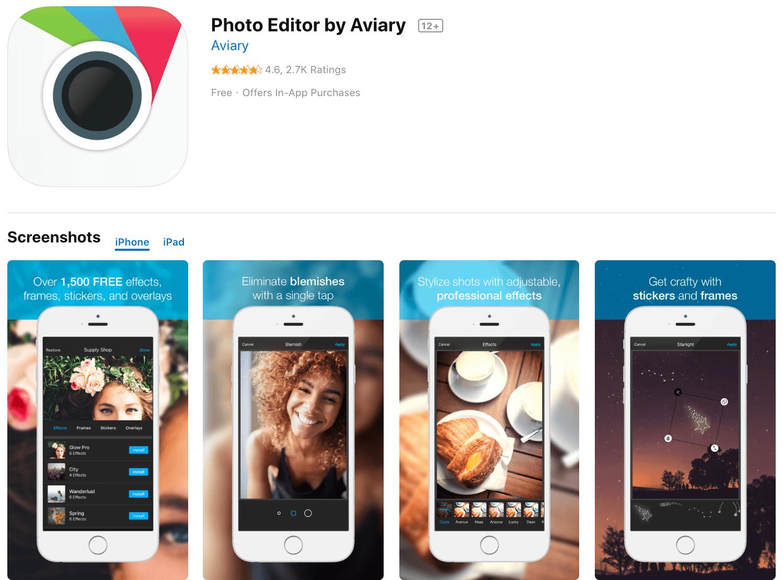 Marketing Apps Photo Editor by Aviary