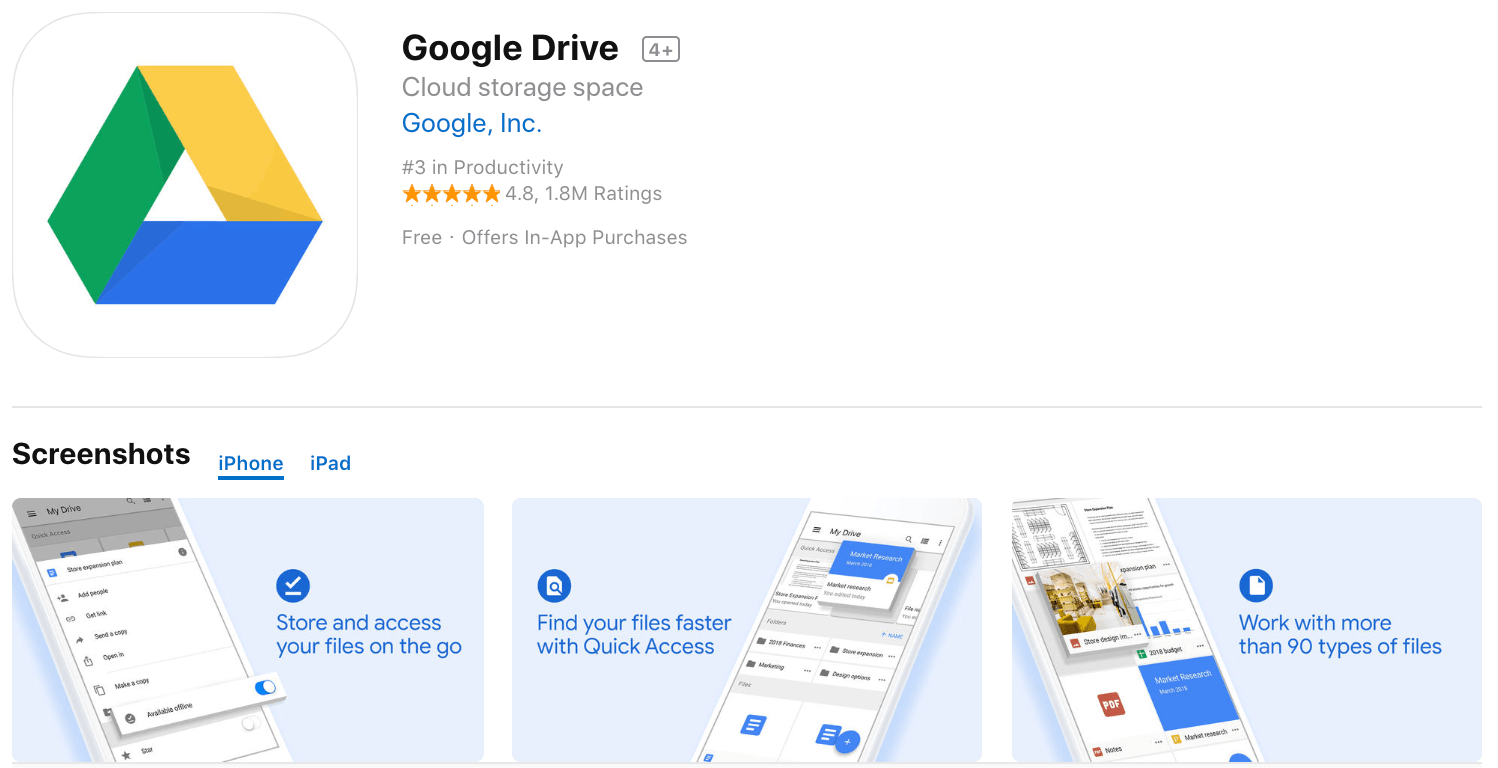 Marketing Apps Google Drive