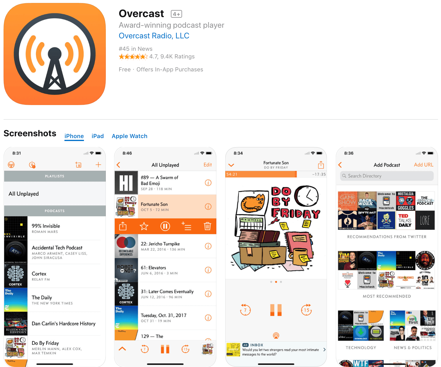 Marketing Apps Overcast