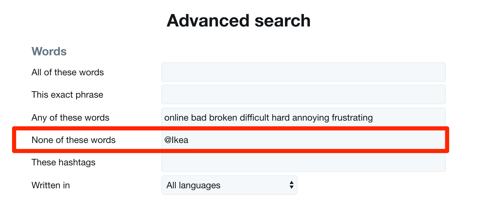 Twitter Advanced Search None