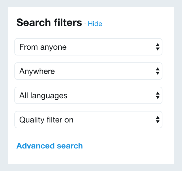 Twitter Basic Search Filters