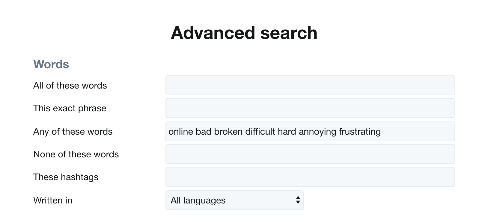 Twitter Advanced Search Any