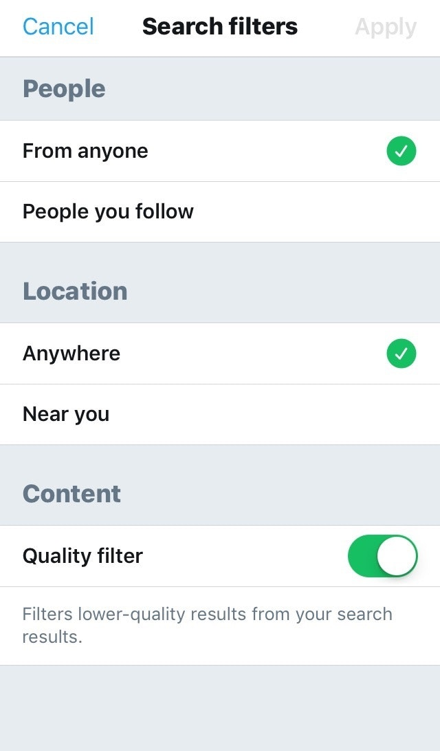 Twitter Advanced Search Mobile