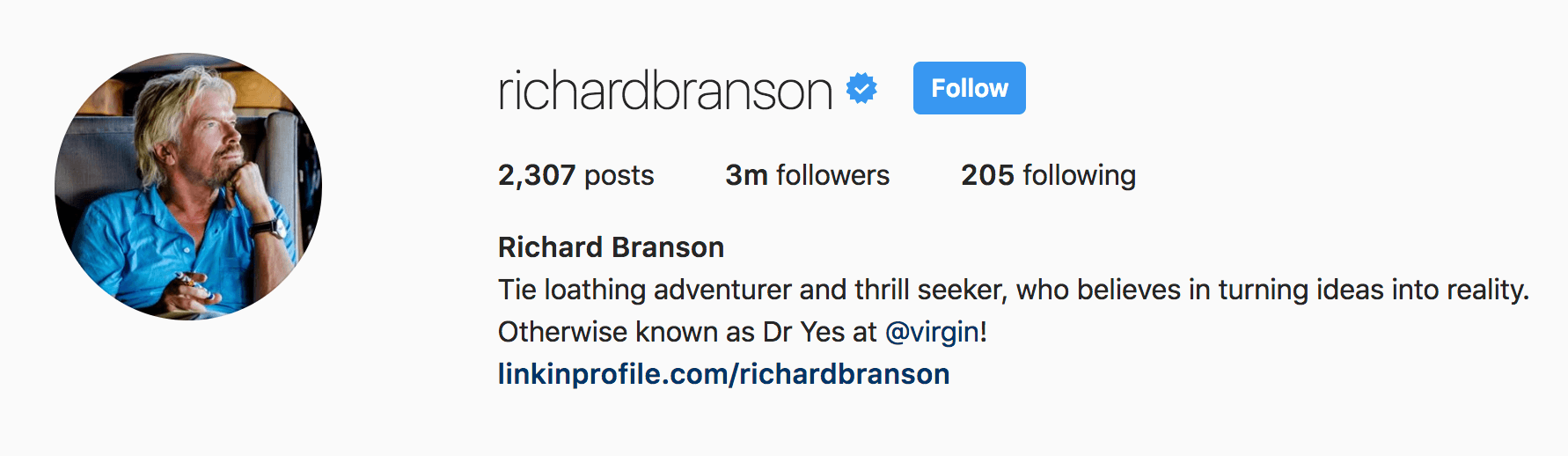 richard branson instagram bio