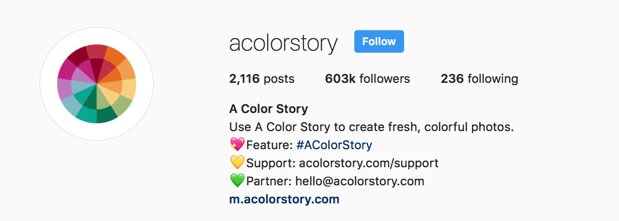 a color story instagram bio