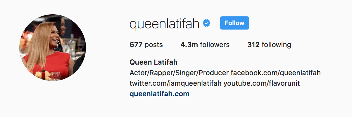 queen latifah instagram bio