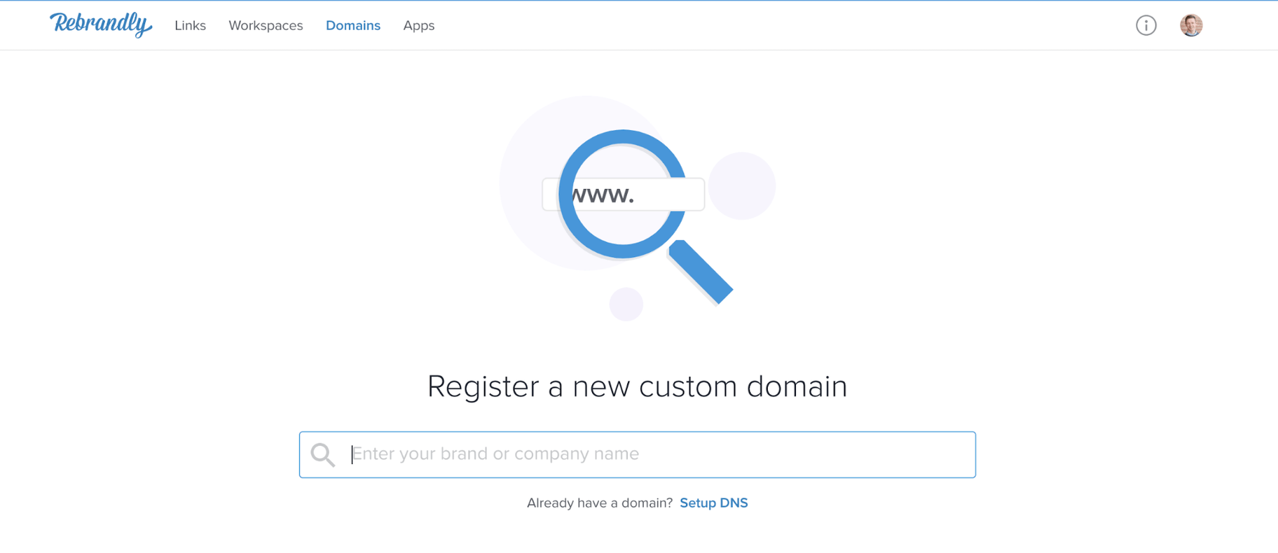 Rebrandly Register Custom Domain