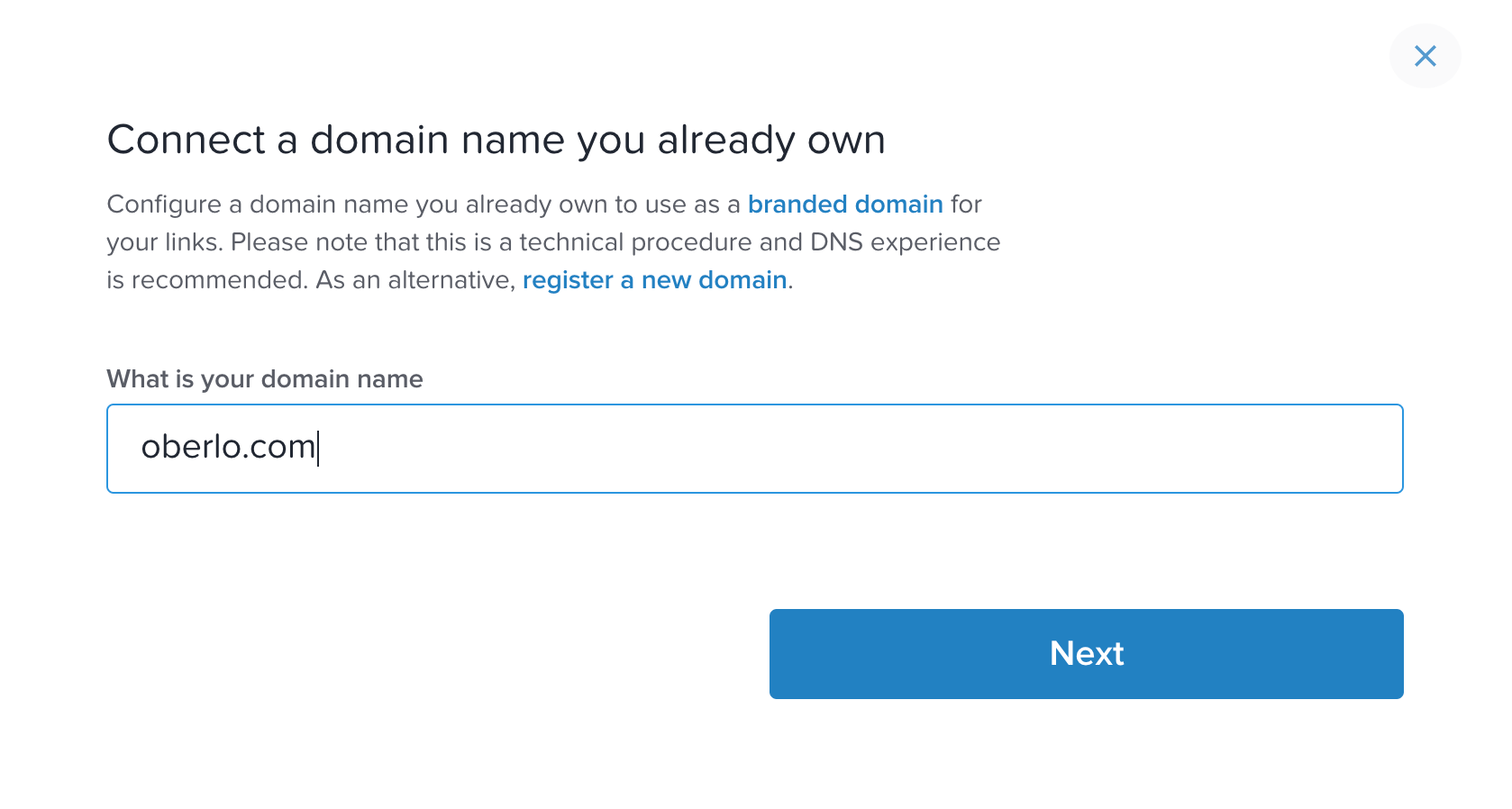 Rebrandly Connect Domain