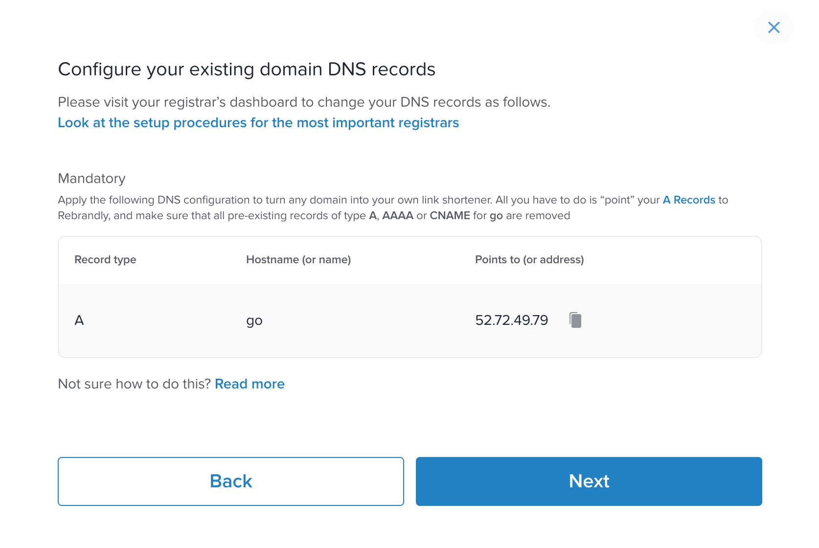 Rebrandly DNS Records