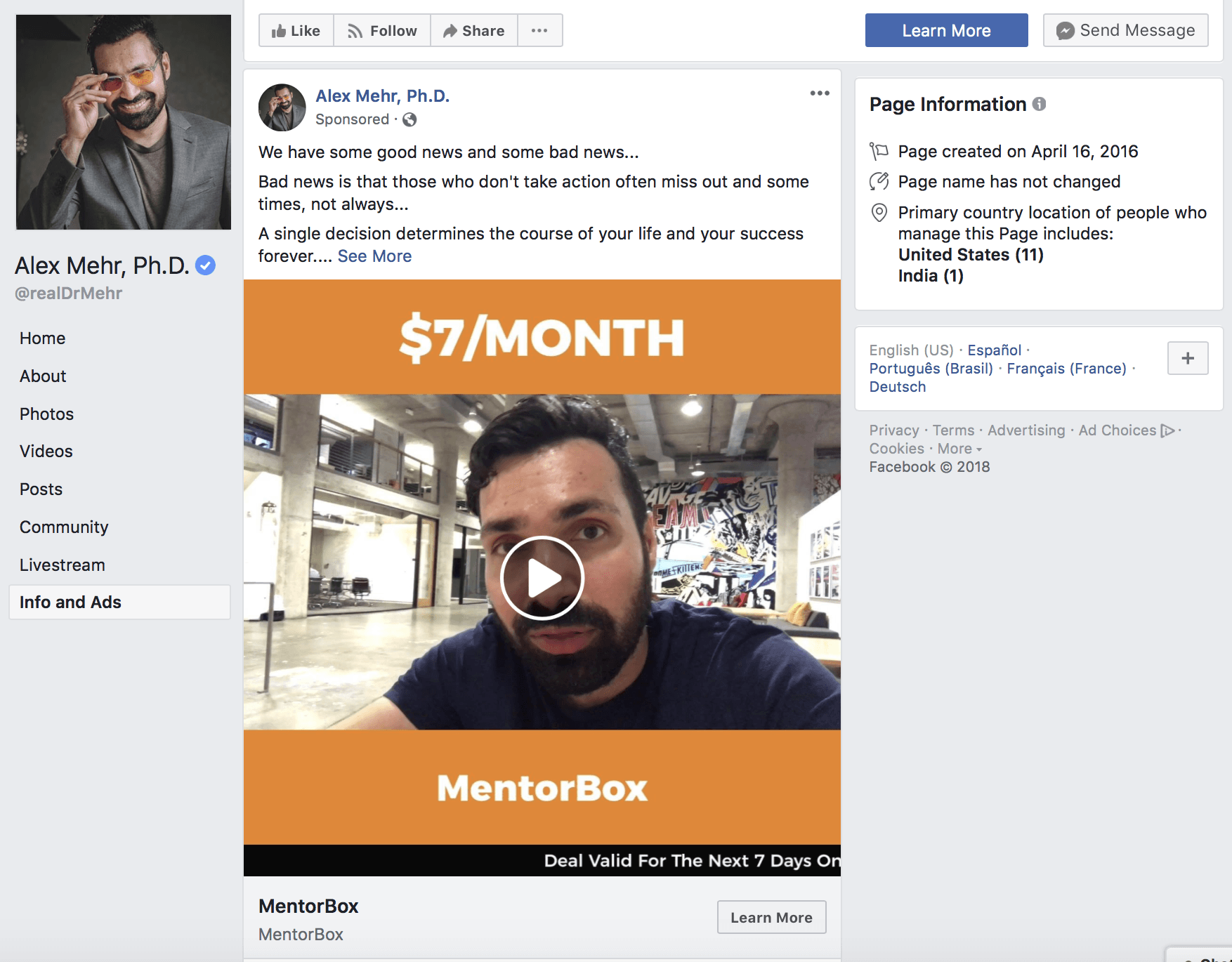 mentorbox video series funnel