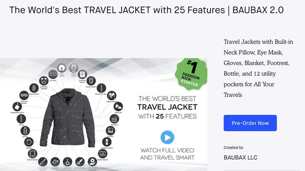 crowdfunding 6. The World's Best Travel Jacket