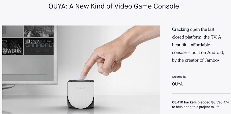 8. OUYA Video Game Console8. OUYA Video Game Console crowdfunding