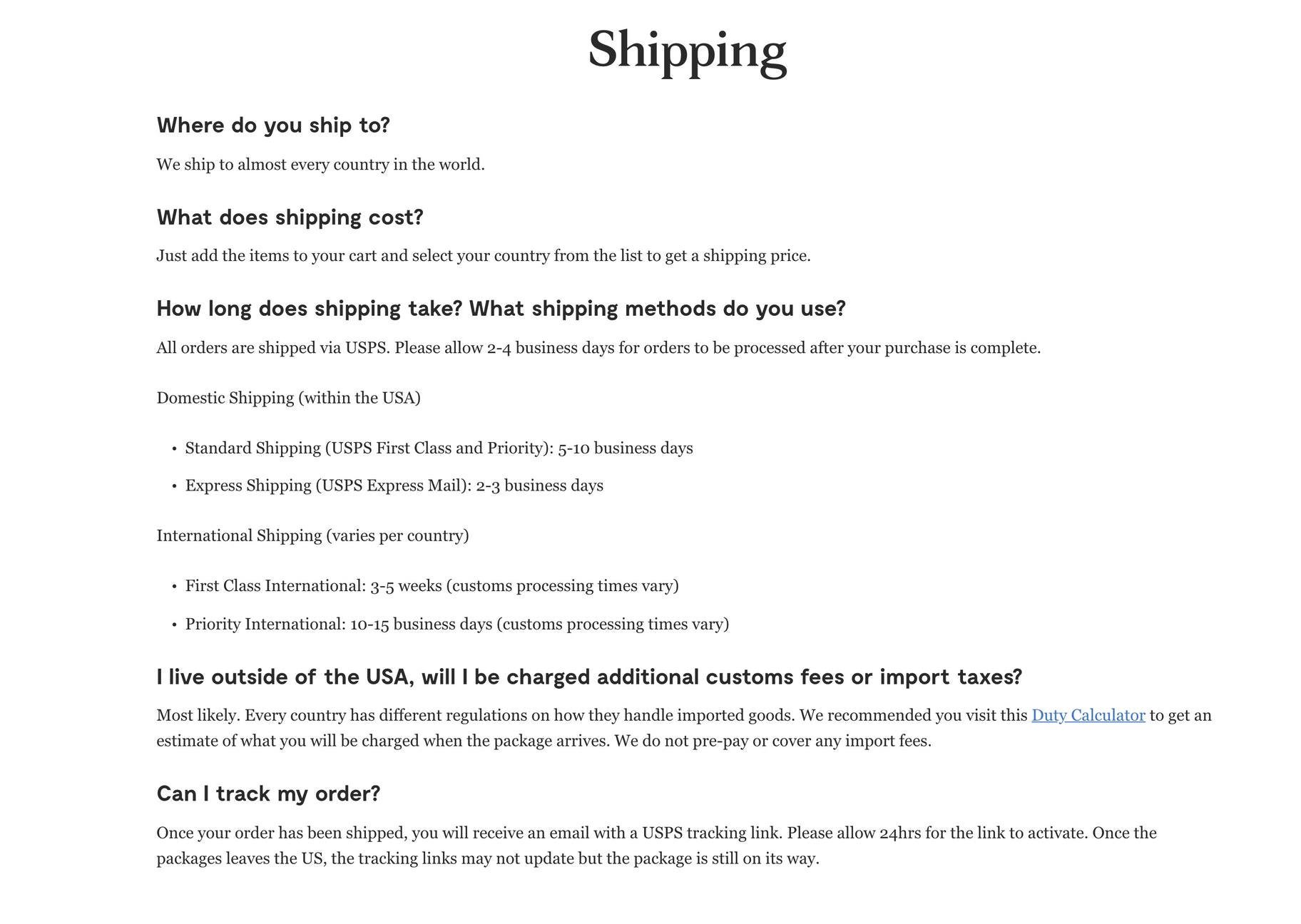 Shipping FAQs for conversions