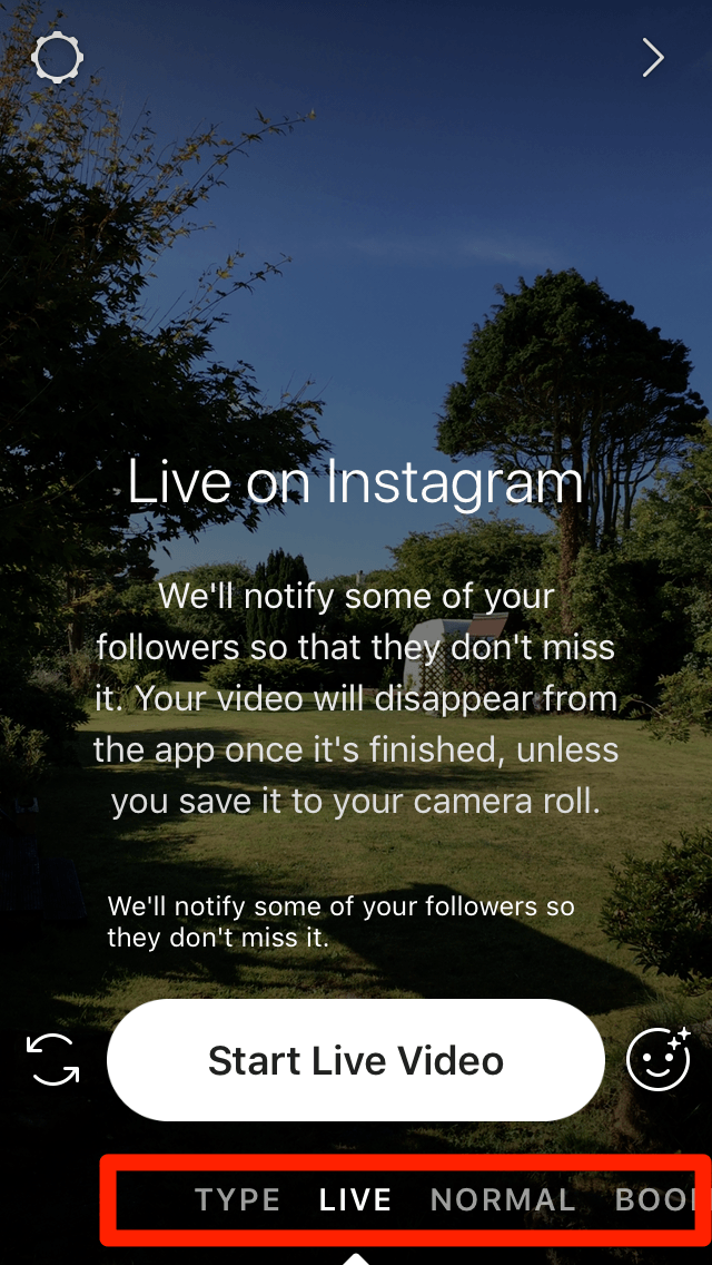 Instagram Stories Live Setting