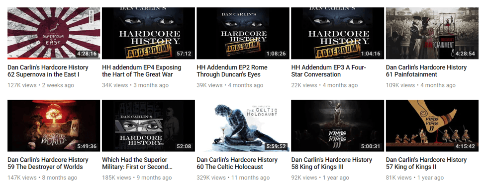 hardcore history youtube page