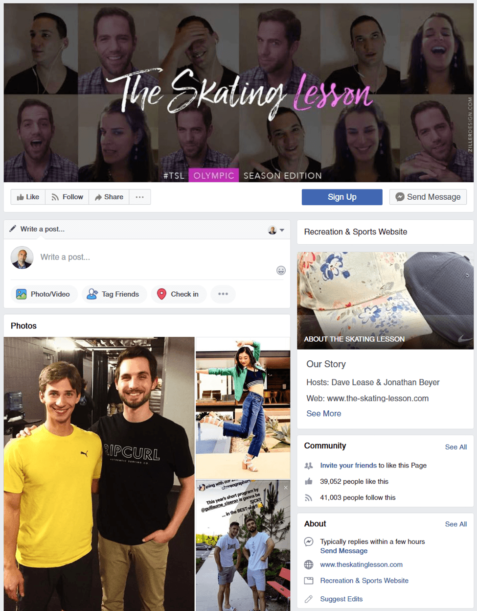 The Skating Lesson Facebook Page