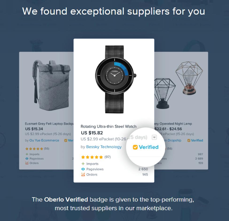 Oberlo verified suppliers