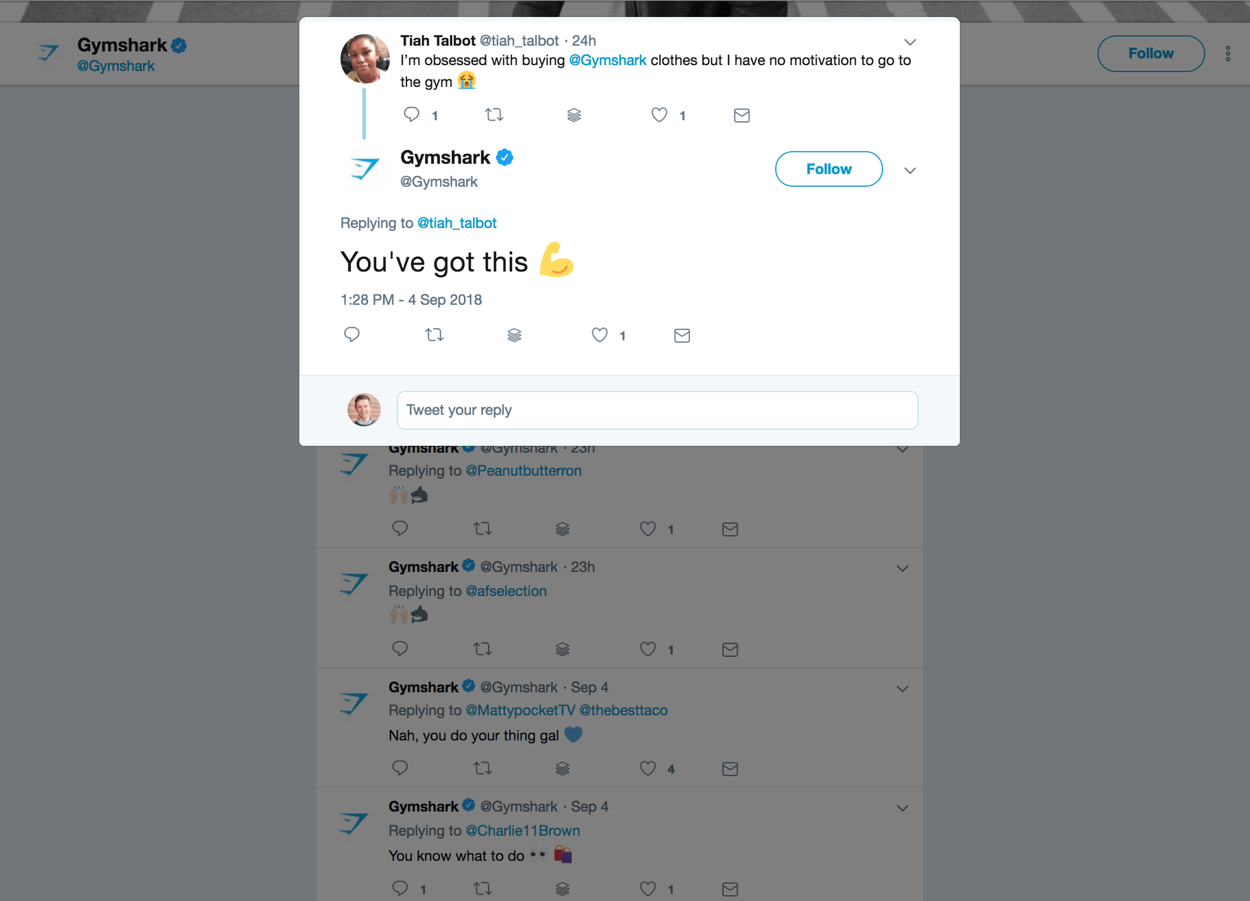 Gymshark Twitter