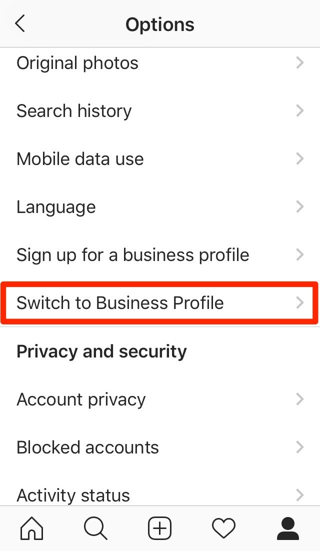 Switch to Instagram Business Profile