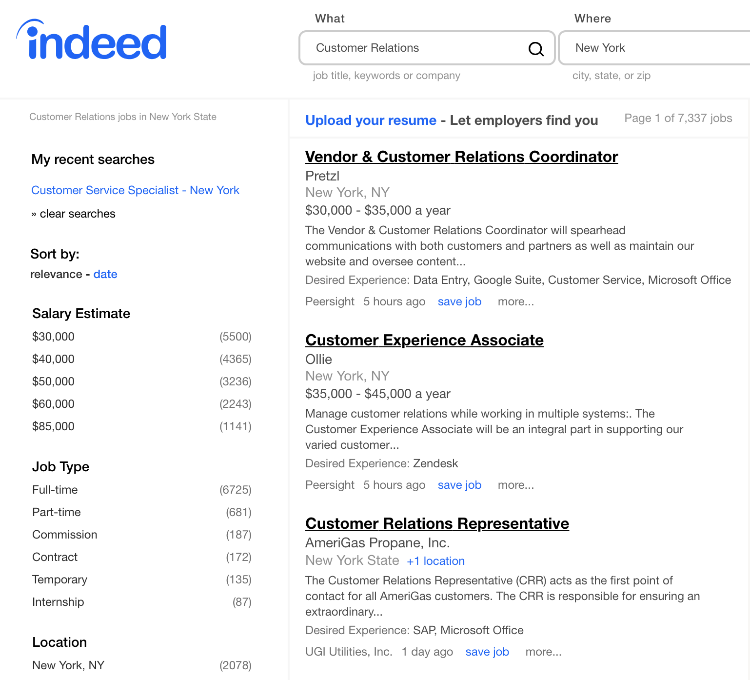 Indeed Customer Relations Jobs