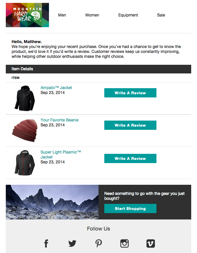 Mountain Hardwear Email Template