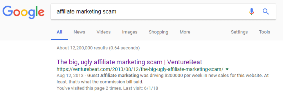 Affiliate marketing isn't a scam