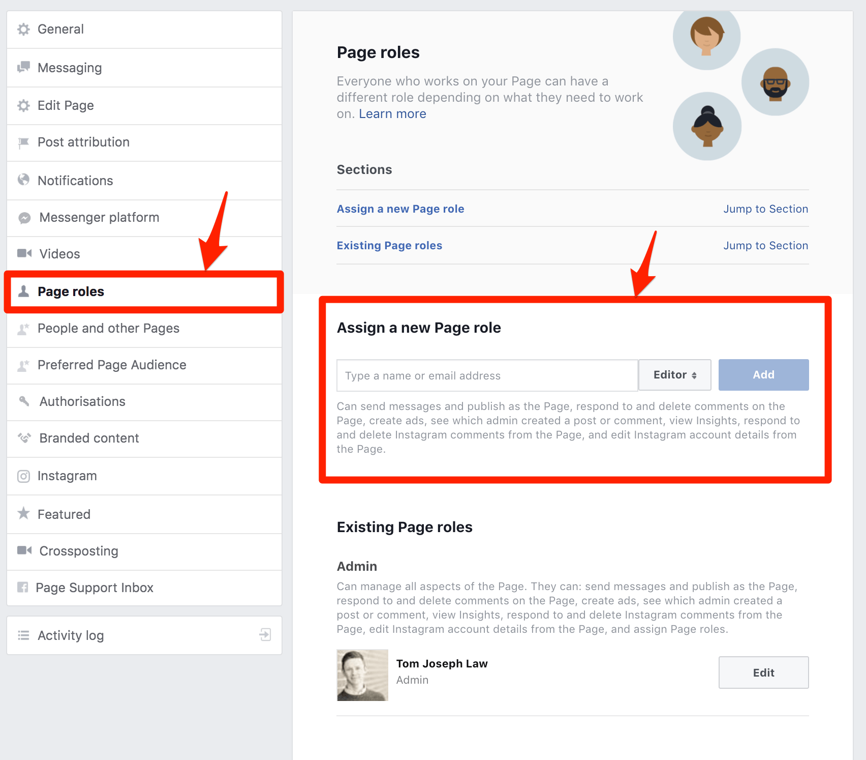 Facebook Business Page Assign Roles