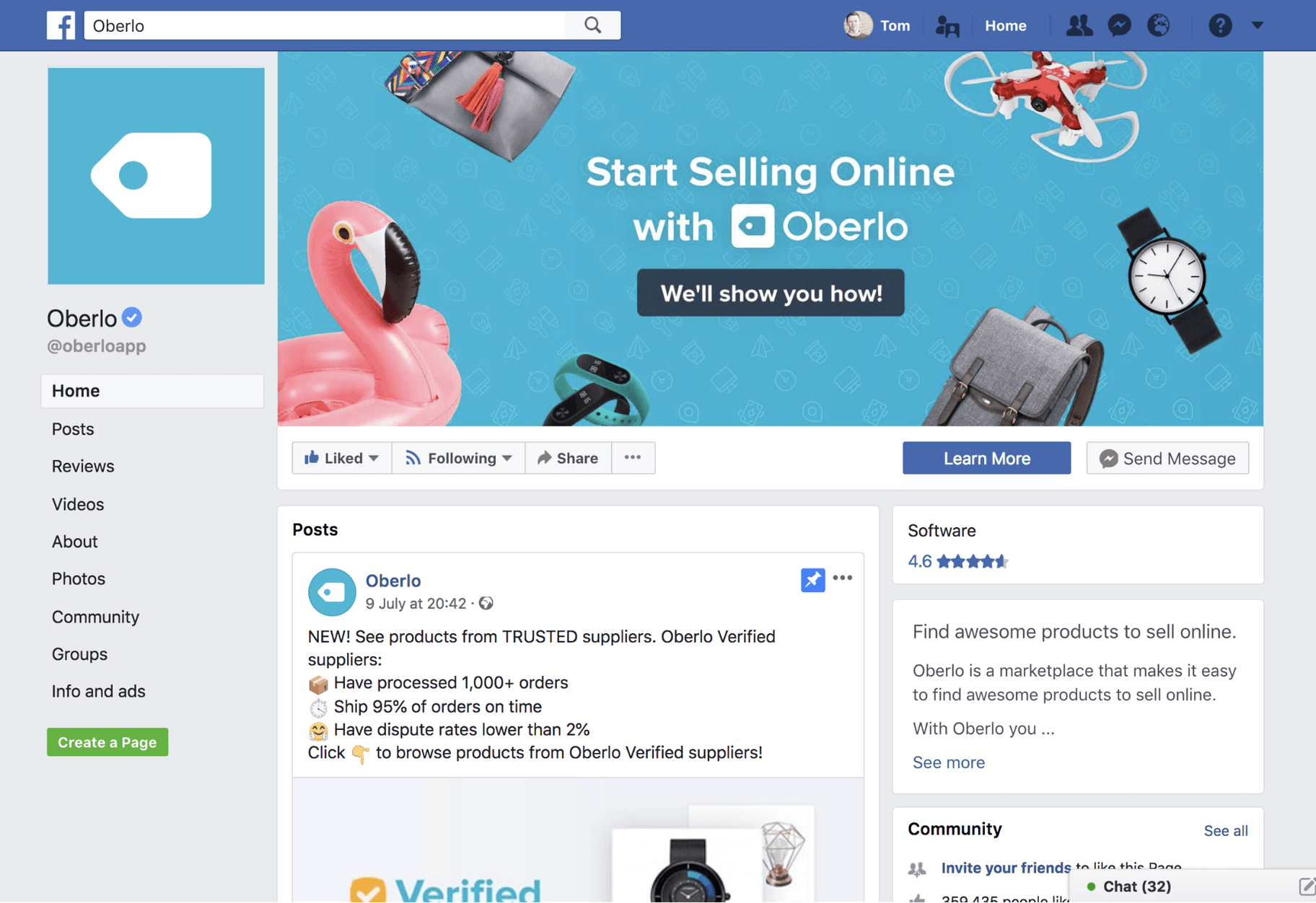 Facebook Business Page Oberlo
