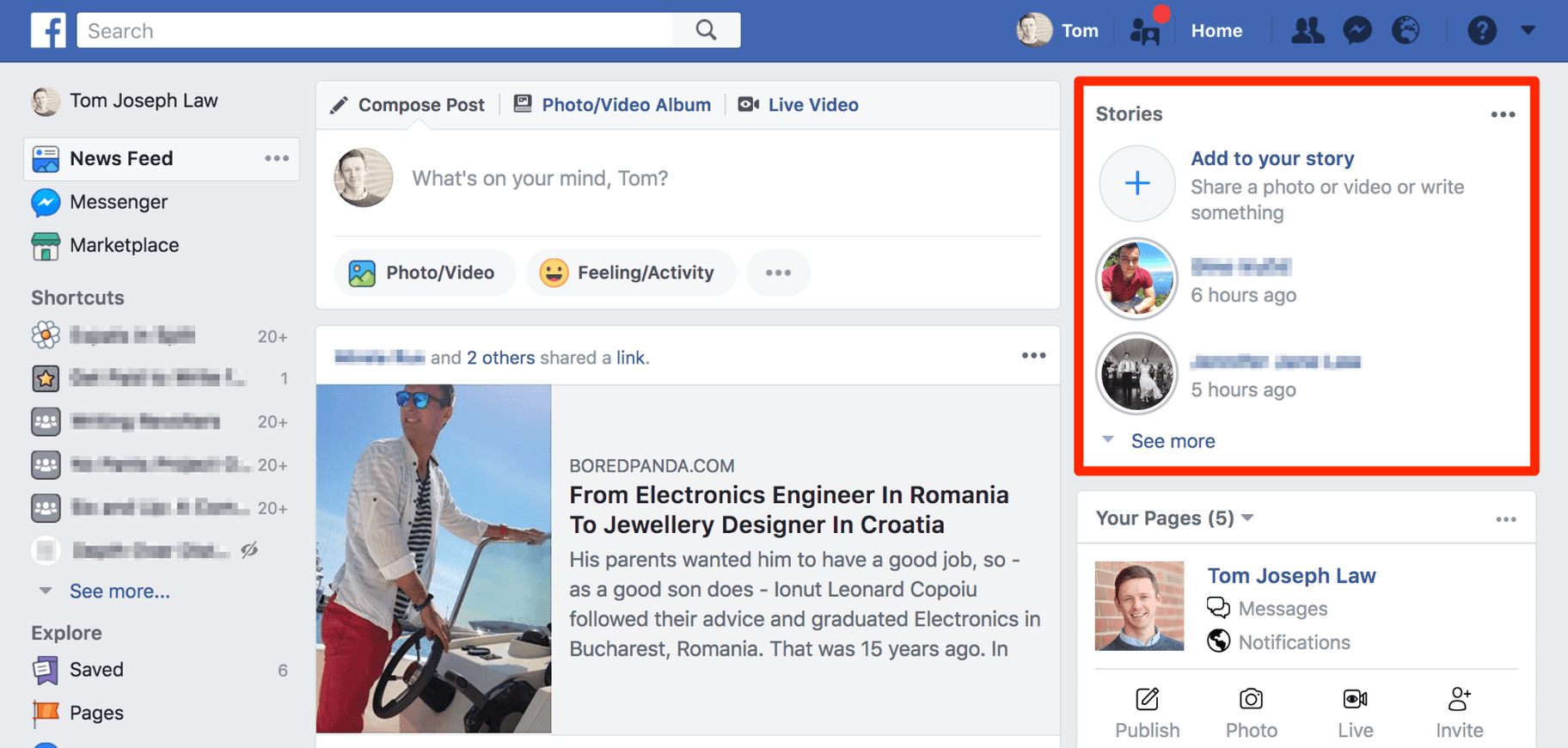 Facebook Stories Desktop