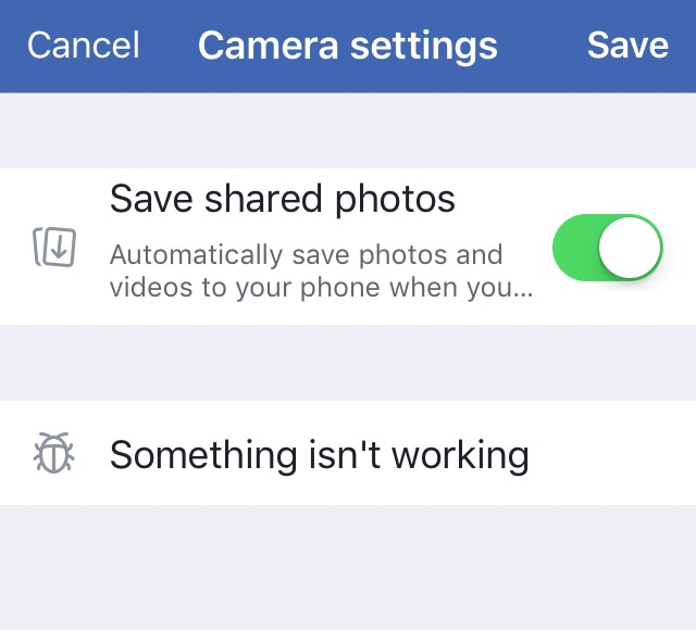 Facebook Story Save Settings