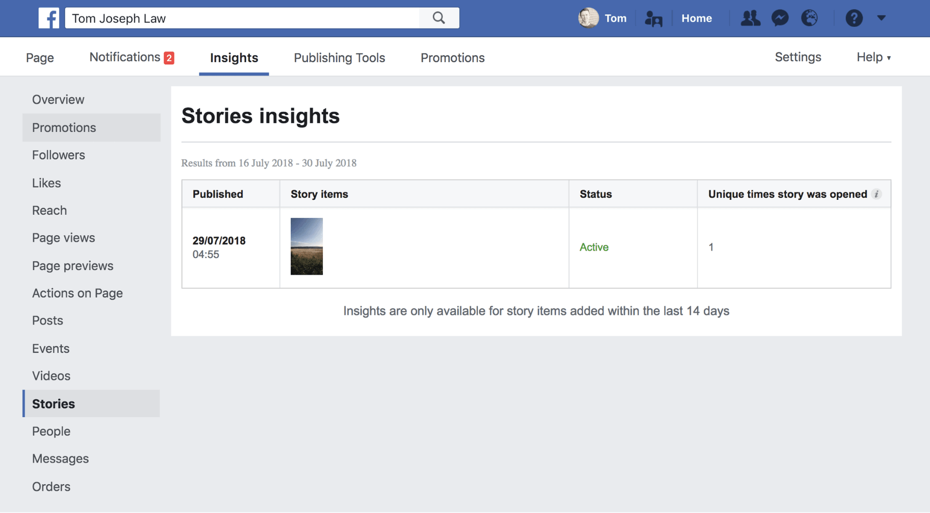 Facebook Story Insights