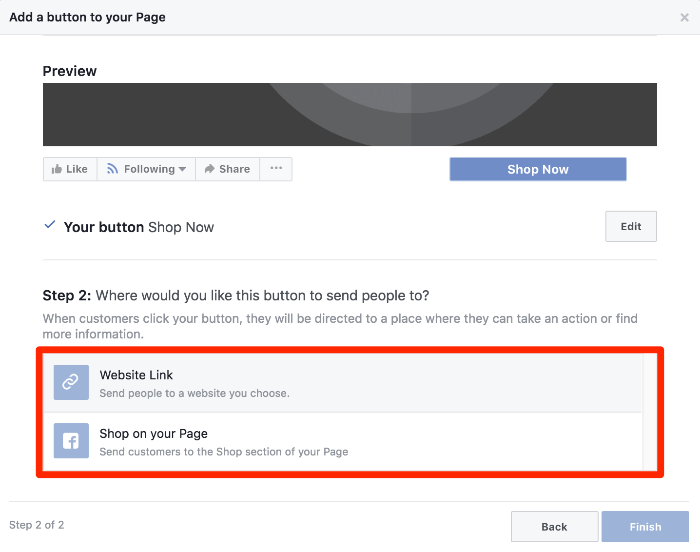 Facebook Business Page Edit Button