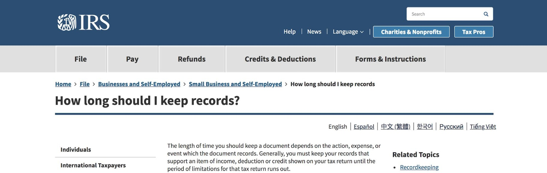 IRS Keep Records