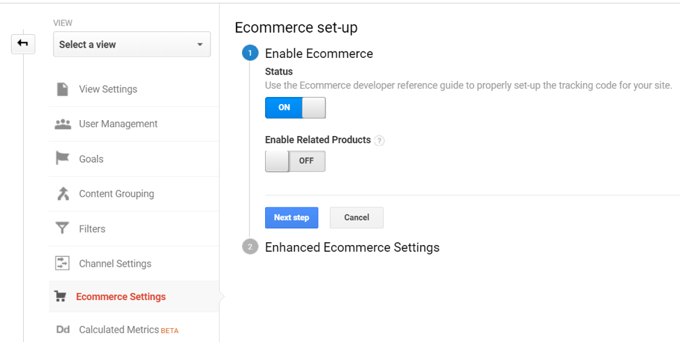 ecommerce tracking GA